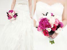 pink black bridal bouquet
