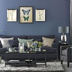Navy blue living room furniture ideas sofa decorating denim and grey home decor licious Navy Living Rooms, Blue Rooms, Living Room Grey, Home Living Room, Living Room Designs, Denim Drift Living Room, Apartment Living, Grey Room, Navy Blue And Grey Living Room