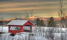 Wilmington, Vermont, USA This small covered bridge was built in 1949 for Arthur Pinkham's sheep, giving them an easy way to cross the small creek between the pasture and the farm. It's modeled after the Creamery Covered Bridge in Brattleboro.
