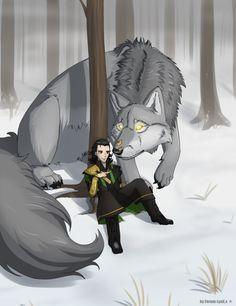 Loki and Fenrir by hardcrowmao.deviantart.com on @DeviantArt