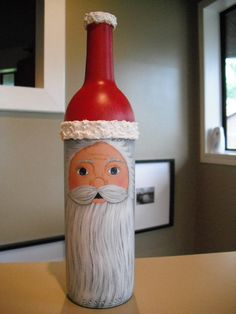 Santa Face Wine Bottle  Jennifer, love everything about this wine bottle...inside and out.
