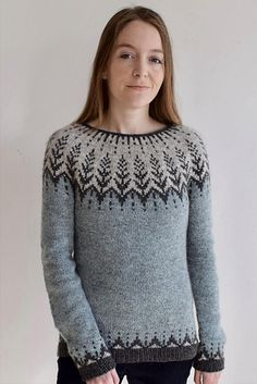 """Vintersol (""""winter sunshine"""") is inspired by a walk in a frosty, wintery meadow. This example is made with a soft and wooly double strand of Camilla Vad yarn, Fair Isle Knitting Patterns, Knitting Stiches, Sweater Knitting Patterns, Knit Patterns, Hand Knitting, Pullover Design, Handgestrickte Pullover, Sweater Design, Crochet Shirt"""