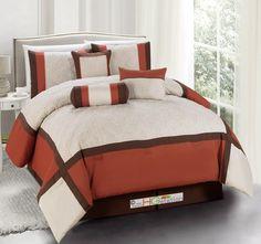 11-Pc Quilted Diamond Square Patchwork Modern Comforter Curtain Set Rust Orange Brown Beige Queen