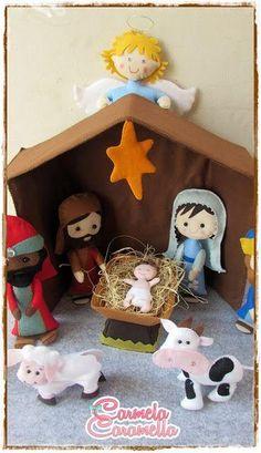 Moldes y manualidades de navidad en fieltro Felt Christmas Decorations, Felt Christmas Ornaments, Christmas Nativity, Christmas Holidays, Christmas Crafts, Christian Christmas, Felt Patterns, Felt Crafts, Imagines