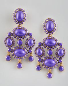 These are HUGE and very bright, but I surprisingly really like them. Perhaps I can take a break from my pearl studs for a day or so. ;)  ~Cabochon Drop Clip Earrings, Purple by Oscar de la Renta at Neiman Marcus.