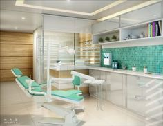 Another modern color scheme (gray floor, wood cabinet, white tables, maybe a pop of the blue on one wall? Blue accents on chairs or in the room? Dentist Clinic, Dental Hospital, Clinic Interior Design, Clinic Design, Healthcare Architecture, Healthcare Design, Dental Images, Dental World, Cabinet Medical
