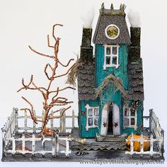 Halloween Fun * Vintage Inspired * Aqua Decorated Vintage Putz Style Glitter House with Spookily Twisted Wire Tree Detail * Perfect Village or Mantle Display * Sweet n' Spooky DIY Inspiration