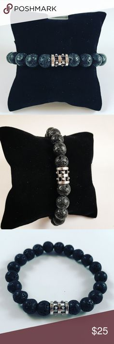 Men black lava rock viking bead beaded bracelet Men bracelet. Fits 7.5 to 8.5 inch wrist. Handmade by me , never worn by anyone. 10mm black lava rock / volcano beads . Silver plated Gear Biker viking bead . I ship fast!✈️ Bundle and save! ( 10% off bundles) . Any questions let me know ! No transactions outside Poshmark!! Accessories Jewelry