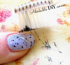 easy splatter easter nails with toothbrush perfect for beginners // adorkable diy corner