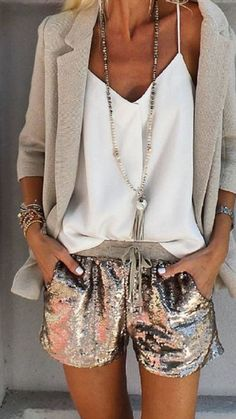 If you're looking to go cute and fashion, then we'd suggest you wear glitter shorts and layer it up with a pastel color blazer and a white loose-fitting cami top. Isn't it the reason to wear glitter? #GlitterFashion