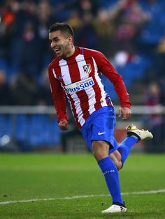 Angel Martin Correa of Atletico de Madrid celebrates scoring their second goal during the Copa del Rey  Round of 16 second leg match at Estadio Vicente Calderon on January 10, 2017 in Madrid, Spain.