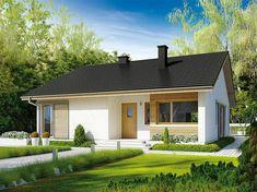 Projekt domu Rafael III 95,56 m2 - koszt budowy 192 tys. zł - EXTRADOM Village House Design, Village Houses, Simple House Plans, House Floor Plans, Rural House, My House, Metal Barn Homes, Cottage Porch, Tuscan House