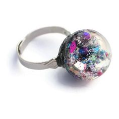 Galaxy Sphere Ring Holographic Colorful Glitter Ring Ball Ring Sparkly... ($10) ❤ liked on Polyvore featuring jewelry, multi color jewelry, multi colored jewelry, sparkle jewelry, sparkling jewellery and galaxy jewelry