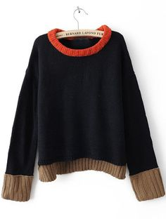 for one of the boys. Navy Long Sleeve Contrast Trim Sweater