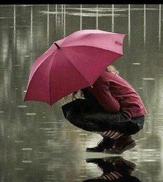Red Umbrella in the Rain