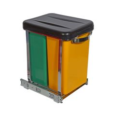 Sliding Waste Bin - Yellow for garbage and Green for organic waste: $59.99 at Solutions. Kitchen Renovation Inspiration, Organic, Yellow, Storage, Green, Purse Storage, Gold