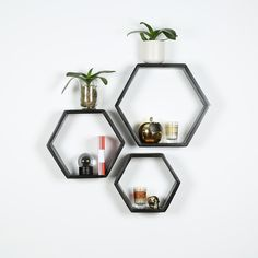 B&K Design and Decor - Hexagon Shelf Set of 3