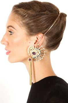 Hair, jewellery placement  Sway away earrings available only at Pernia's Pop-Up Shop.