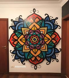 Graffiti Wall Art, Mural Art, Wall Murals, Mandalas Painting, Mandala Drawing, Wall Art Designs, Design Art, Art Lotus, Wall Painting Decor