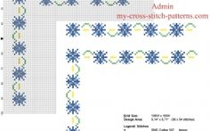 Floral border with blue and light blue small flowers free cross stitch pattern width 9 stitches