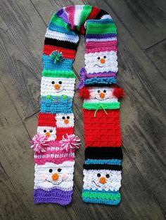 Snowman+Scarf+Crochet+Pattern | Ravelry: Snappy Sampler Snowman Scarf pattern by Heidi Yates idea*****