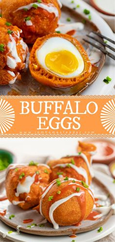 22 minutes · Serves 6 · Buffalo lovers, rejoice! Buffalo Eggs are perfectly soft-boiled eggs coated and dipped in homemade buffalo batter and deep-fried to a crisp, golden brown. This delicious appetizer recipe makes use of… More Yummy Appetizers, Appetizers For Party, Appetizer Recipes, Homemade Buffalo Sauce, Homemade Ranch, Buffalo Chicken Meatballs, Tasty Dishes, Side Dishes, Soft Boiled Eggs