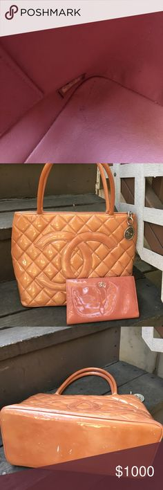 Vintage Chanel tote with wallet This is 100% authentic peach color with silver hardwear. Please no lower ball . You know I have to pay fee and shipping . Please check more on my list . Thank CHANEL Bags Totes