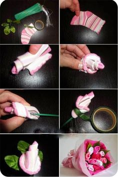How to make a baby sock rose baby gift idea baby showers 2 4 9 negle Choice Image
