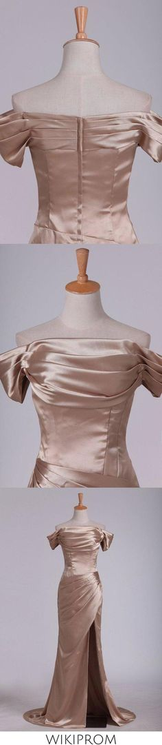 2019 Off The Shoulder Elastic Satin With Slit And Ruffles Sheath Evening Dresses, This dress could be custom made, there are no extra cost to do custom size and color Cheap Mermaid Prom Dresses, Split Prom Dresses, Best Prom Dresses, Prom Dresses Online, Wedding Bridesmaid Dresses, Make Your Own Dress, Perfect Figure, Elastic Satin, Special Occasion Dresses