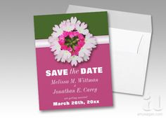 Flower Heart Pink and Green Save the Date Announcements