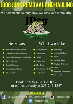 Junk Removal Service, Removal Services, Outdoor Sheds, Logo Inspiration, Flyers, Washer, How To Remove, Business, Ruffles