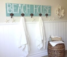Nautical Wooden Beach House  Towel Rack by MeetMeByeTheSea on Etsy, $90.00