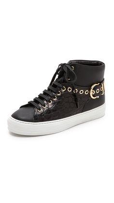 Croc panel and signature Ferragamo buckle tighten these up. Salvatore Ferragamo $625| #shopbob Pixy Studs High Top Sneakers