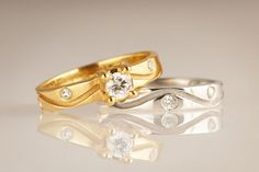 Engagement ring in 18ct Fairtrade white/yellow gold with approx 0.07ct Canadian Diamonds with Wedding Band in 18ct Ethical white/yellow gold with approx 0.3ct Canadian Diamonds