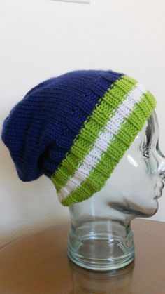 Knitted Seahawks hat unisex for him for her by needlepointnmore, $25.00