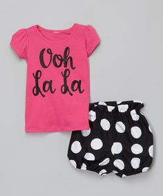 Look at this Million Polkadots Hot Pink 'Ooh La La' Top & Bloomers - Infant & Toddler on #zulily today!