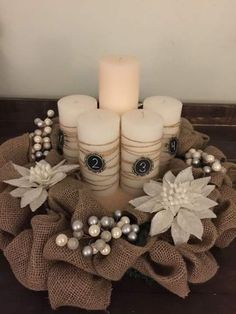 Advent Wreath with wrapped candles A personal favorite from my Etsy shop… Church Christmas Decorations, Christmas Advent Wreath, Christmas Candles, Christmas Centerpieces, Christmas Colors, Christmas Crafts, Advent Wreaths, Reindeer Christmas, Nordic Christmas