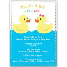 Invite guests to your gender reveal party with this pink and blue accented ducky invitation featuring a boy and a girl rubber duck floating on water.