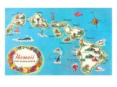 Map of Hawaii Art Print at AllPosters.com