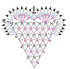 diagrama de corazón de crochet para enamorados