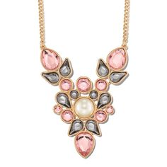 """Goldtone pearlesque cluster necklace with center cream colored pearl and black diamond and pink colored faux stones.· Necklace: 28"""" L with Lobster Claw clasp· Extender: 3 1/2"""" L· Imported"""