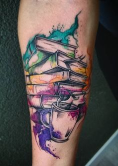 Awe-inspiring Book Tattoos for Literature Lovers - KickAss Things - watercolor books tattoo © Levi's Levi's tattoo artist Alpha Ink Gdynia 💕📚💕📚💕📚 - B Tattoo, Tattoo Diy, Piercing Tattoo, Piercings, Tattoo Ideas, Tattoo Quotes, Bookish Tattoos, Literary Tattoos, Finger Tattoos