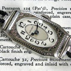 Ladies 1920s Gruen GUILD Engraved 14K White Gold Filled 15j Swiss Art Deco Watch