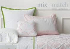 green polka dots and light pink lattice quilt