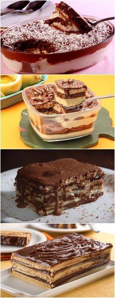 APRENDI COM MINHA TIA, A FAZER RECEITA DE PAVÊ DE CREME E CHOCOLATE; VEJA AQUI >>> Em taças individuais ou em um refratário, alterne camadas de biscoitos umedecidos na calda de chocolate e camadas de creme. #receita#bolo#torta#doce#sobremesa#aniversario#pudim#mousse#pave#Cheesecake#chocolate#confeitaria Dessert Drinks, Dessert Recipes, Desserts, Cupcakes, Cupcake Cakes, Ferrero Chocolate, Ferrero Rocher, Chocolate Syrup, Cake Bars