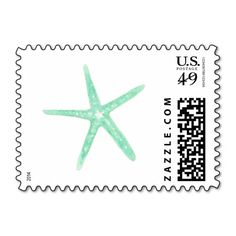 Mint Green Starfish Postage Stamps