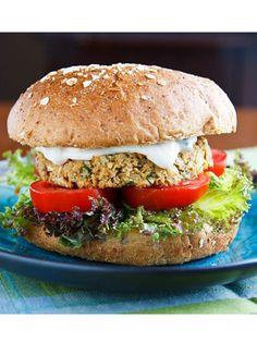 Chickpea Burger with Tahini Sauce: chickpeas, scallions, egg, flour, oregano, cumin, salt, olive oil, yogurt, tahini, lemon juice, parsley, salt