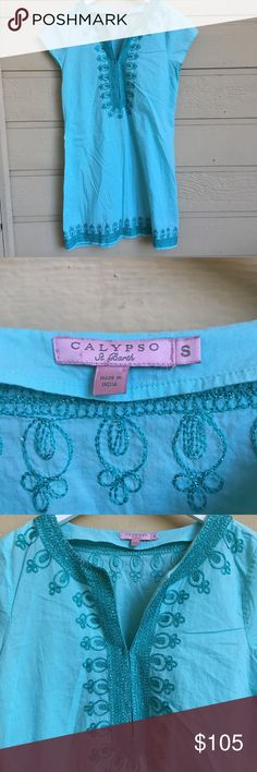 "Calypso St. Barth Ro Embroidered Cotton Dress Gorgeous Tunic in EUC! A classic summer staple and fan favorite from this incredible brand. Has beautiful sparkling embroidery details. Front is held by hook closures that can be unhooked. Buttery soft and just perfect for he beach. Approx measurements: 18.5"" bust, 34"" length. Calypso St. Barth Dresses Mini"