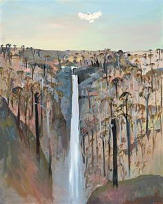 Arthur Boyd 1920 - Waterfall on the Banks of the Shoalhaven River. Oil on composition board Contemporary Landscape, Abstract Landscape, Landscape Paintings, Australian Painting, Australian Artists, Arthur Boyd, Waterfall Paintings, Fine Art Auctions, English Countryside