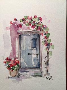 Image result for watercolor card door